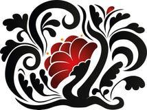 Flor com ilustração das folhas ilustração do vetor