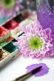 Flor com pinturas da aguarela imagens de stock