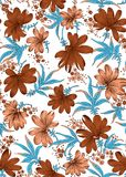 Flor com projeto da cópia das folhas Imagens de Stock