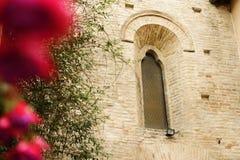 Flor con la iglesia en fondo Foto de archivo libre de regalías