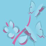 Flor con la mariposa del papel stock de ilustración