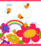 Flor con las abejas alrededor Imagen de archivo