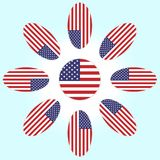 Flor con los pétalos de la bandera americana ilustración del vector
