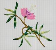 Flor cor-de-rosa bordada Foto de Stock Royalty Free