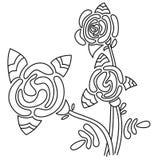 Flor cor-de-rosa da arte na cor preto e branco ilustração royalty free