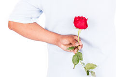 Flor cor-de-rosa da posse do homem atrás para a surpresa sua esposa Fotografia de Stock Royalty Free