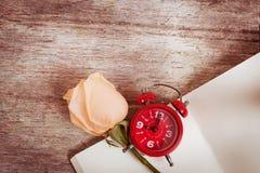 flor cor-de-rosa no livro de nota, vintage Fotografia de Stock Royalty Free