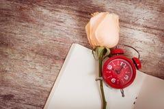 flor cor-de-rosa no livro de nota, vintage Imagem de Stock Royalty Free