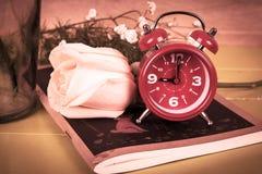 flor cor-de-rosa no livro de nota, vintage Foto de Stock Royalty Free