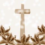 Flor cristiana de la cruz y del lirio stock de ilustración