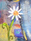 Flor da camomila do grunge dos desenhos animados Cartão de verão tirado mão Foto de Stock Royalty Free