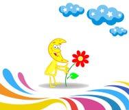 Flor da consequência do mês dos desenhos animados Retorno à natureza ilustração stock