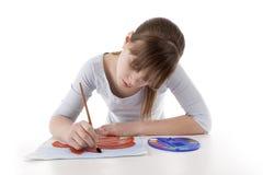 Flor da cor de desenho da menina Fotos de Stock