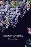 Flor da glicínia Cartão da glicínia da aquarela Imagens de Stock Royalty Free
