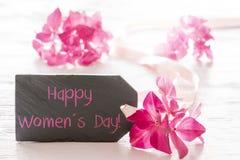 A flor da hortênsia, Text o dia das mulheres felizes Fotografia de Stock Royalty Free