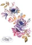 Flor da ilustração da aquarela no fundo simples