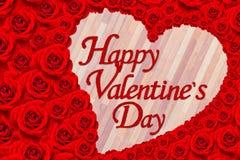 A flor da rosa do vermelho ajustou-se no dia feliz de Valentine's da palavra Fotos de Stock