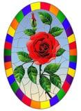 Flor da rosa do vermelho em um fundo azul em um quadro brilhante, imagem oval da ilustração do vitral ilustração stock