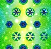 Flor da vida Geometria sagrado Teste padrão sem emenda Verde e roxo ilustração royalty free