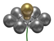 Flor das ampolas de prata e douradas no fio verde ilustração royalty free