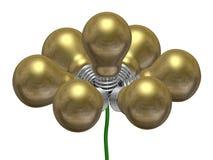 Flor de ampolas douradas no fio verde ilustração do vetor