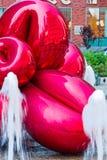 Flor de balão vermelha por Jeff Koons, New York Foto de Stock Royalty Free