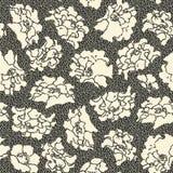 Flor de cerezo en estilo japonés en listo para utilizar blanco y negro con los pequeños puntos ilustración del vector