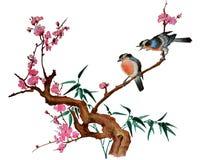 Flor de cerezo y dos pájaros Imagen de archivo libre de regalías