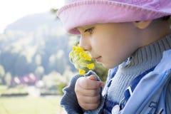 Flor de cheiro da menina Imagens de Stock