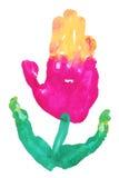 Flor de Handprint imagen de archivo