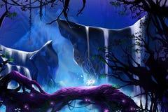 Flor de incandescência do mistério na floresta profunda ilustração do vetor