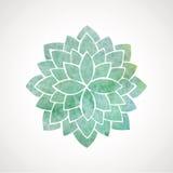 Flor de la acuarela en colores azulverdes Foto de archivo libre de regalías