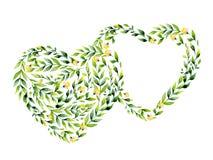 Flor de la acuarela y corazón amarillos de las hierbas Imagen de archivo libre de regalías