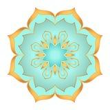 Flor de la mandala en colores hermosos del oro y de la turquesa en el fondo blanco Fotos de archivo
