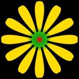 Flor de la margarita amarilla y verde con el centro rojo Fotografía de archivo