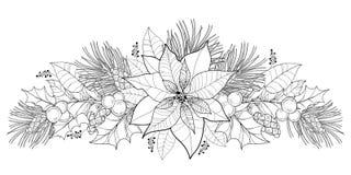 Flor de la poinsetia del contorno del vector o estrella de la Navidad en negro aislada en blanco Frontera horizontal con la poins Imagen de archivo