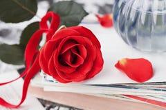 Flor de la rosa del rojo con una pila de postal, de fotos retras y de libro Imagenes de archivo