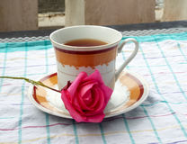 Flor de la rosa del rojo en plato del té Foto de archivo libre de regalías