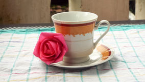 Flor de la rosa del rojo en plato del té Foto de archivo