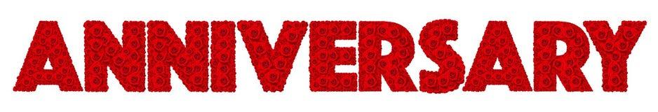 Flor de la rosa del rojo fijada en aniversario de la palabra Foto de archivo libre de regalías