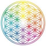 Flor de la vida en colores del arco iris stock de ilustración