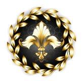 Flor de lis do ouro com uma grinalda do louro Fotos de Stock