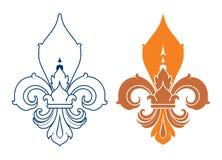 Flor de lis - projeto francês do símbolo, heralry francês Foto de Stock