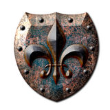 Flor de lis rústica del escudo del metal Fotos de archivo libres de regalías