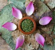 Flor de loto de la colección, semilla, té, comida sana Fotos de archivo libres de regalías