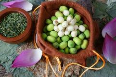 Flor de loto de la colección, semilla, té, comida sana Fotografía de archivo