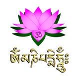 Flor de loto, símbolo de OM y mantra Imagenes de archivo