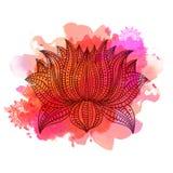 Flor de Lotus hermosa del estilo de Boho Foto de archivo