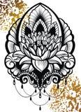 Flor de Lotus ornamental del vector, arte étnico Símbolo del tatuaje, de la astrología, de la alquimia, del boho y de la magia Fotografía de archivo libre de regalías