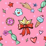 Flor de moda del caramelo del helado de la estrella del corazón de los dulces de la diadema de la diversión linda inconsútil del  stock de ilustración